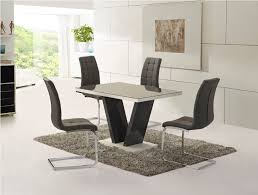 zara grey high gloss top small dining table and 4 enzo white leather chairs dt 101gr 1 ch 250wh 4 me home furnishings