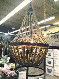 wood bead chandelier from world market