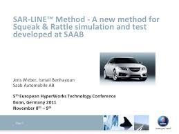 Sar Line Method A New Method For Squeak Rattle Simulation And Te