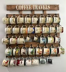 Coffee cup holder, coffee cup rack, coffee mug rack, 40 or 48 Hook, coffee  mug holder, coffee cup display, Holds Starbucks You Are Here Mugs