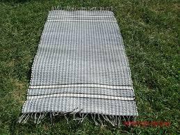light green dark green white striped amish throw rug