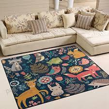alaza forest owl deer hedgehog fox area rug rugs for living room bedroom 5 3