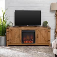 manor park modern farmhouse barn door fireplace tv stand for tv s up to 64 barnwood com