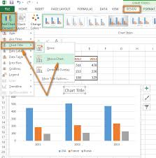 on add chart element in the chart layouts group on the design tab
