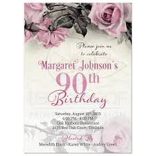 90 Birthday Party Invitations 90th Birthday Invitation Vintage Pink Grey Rose