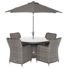 lario 4 seat round garden dining set with parasol storm grey weave with ash grey immediate furniture delivery
