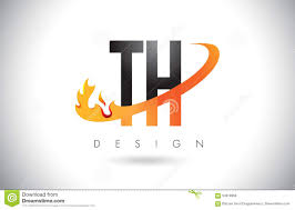 Design Th Th T H Letter Logo With Fire Flames Design And Orange Swoosh