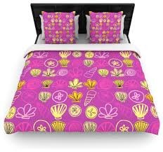 jane smith under the sea mermaid pink gold cotton duvet cover twin