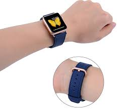 apple watch band 38mm peak zhang women midnight blue genuine leather replacement wrist strap with