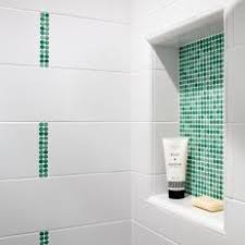 subway tile shower niche.  Tile Shower Niche With Green Mosaic Tiles And Subway Tile R