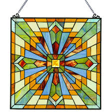 river of goods multi colored stained glass mission style clouds in the sky window panel