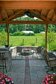 Covered Patio With Brick Firepit Traditional Patio Indianapolis
