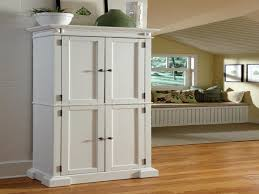 free standing white kitchen pantry cabinet