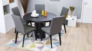 contemporary black round extending dining set grey leather dining chairs and wenge wood extending table