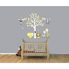 gray jungle tree wall decal with monkey wall stickers for