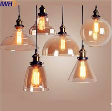 iwhd glass style loft industrial pendant light dinning room edison retro vintage lamp american hanglamp home indoor lighting