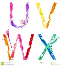 vector paint splash font u v w x