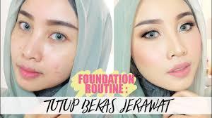 tutorial full makeup foundation untuk wajah berjerawat tips cover acne review produk you