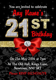 Red Black Gold Diamond 21st Birthday Party Invitations