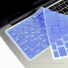 Russian English Light Blue Silicone Keyboard Cover For