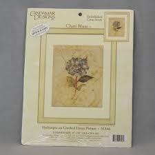 Candamar Designs Embellished Cross Stitch Candamar Embellished Cross Stitch Hydrangea On Cracked Linen