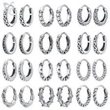 <b>1 Pair</b> Gothic Punk Stainless Steel Hoop Earrings <b>Men Women</b> Kpop ...
