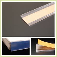 these adhesive ticket edge strips have a self adhesive back that affixes to shelving