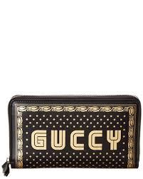 gucci guccy leather zip around wallet men s black