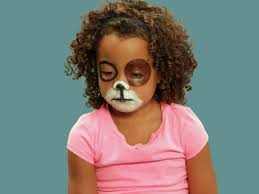 draw black triangle for nose for puppy makeup