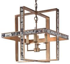pickley modern classic cube rustic gold mirrored pendant
