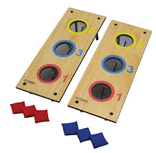 Wooden Bean Bag Toss Game Triumph Sports 10000In100 100Hole Tournament Bag Toss and Washer Toss 10