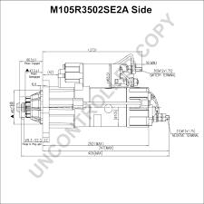 m105r3502se2a starter motor product details prestolite leece Combo Starter Diagram m105r3502se2a side dim drawing combination starter wiring diagram
