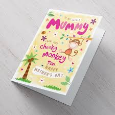 Mother Day Card Personalised Mothers Day Card From Your Cheeky Monkey