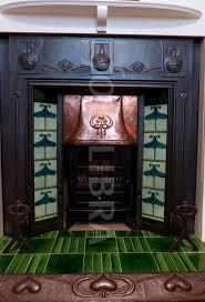 red art nouveau tile iron fireplace original arts crafts art nouveau tiled