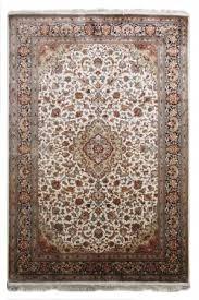 kashmir pure silk cream persian silk rug from india