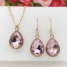 details about 1 set rose gold water drop pendant necklace earrings fashion jewelry pink