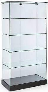 frameless trophy cases that are 35 1 4 wide assembly required black laminate finish frameless tower showcases features