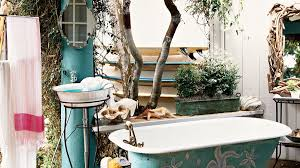 beach house bathroom design. A Clawfoot Tub Sits Outside On Deck Alongside Standing Pedestal Sink With Beach House Bathroom Design