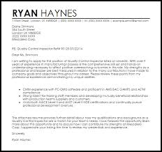 Quality Control Inspector Cover Letter Sample Cover Letter