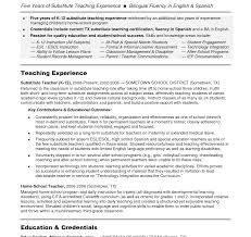 Job Description For Substitute Teacher For Resume Singular How To Write Teaching Resume Math Teacher Objective 83