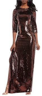 Aidan Mattox Bronze Sequined 3 4 Sleeve Column Gown Long Formal Dress Size 2 Xs 35 Off Retail
