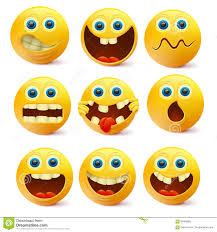 Yellow Smiley Faces Emoji Characters Template Stock
