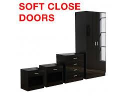 bedroom furniture black gloss. Gladini Black High Gloss 4 Piece Bedroom Furniture Set - Wardrobe Chest Bedside