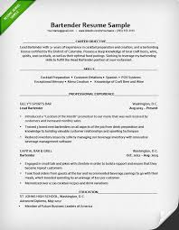 Bartender Sample Resume Free Resume Templates 2018