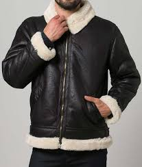 mens black leather white shearling jacket