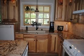 hickory cabinets gold and silver granite tile backsplash traditional kitchen