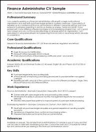 Finance Resume Sample Administrator Cv Famous Snapshot Consequently