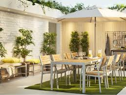 Image Rattan Two SjÄlland Outdoor Tables And Chairs In Light Brown And Light Gray On Runnen Artificial Amazoncom Outdoor Patio Furniture Ikea