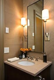 Small powder room design Bathroom Tan Bathroom Ideas Architects Chic Small Powder Room Design With Tan Wallpaper Tan Tiles Small Tan Bathroom Ideas Flexzoneinfo Tan Bathroom Ideas Architects Chic Small Powder Room Design With Tan