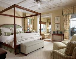 romantic master bedroom with canopy bed. Wooden Canopy Bed With Floral Printed Curtain For Romantic Master Bedroom Makeovers Green Headboard M